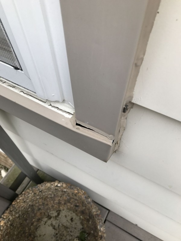 Trim is not adequately caulked causing potential water penetration.