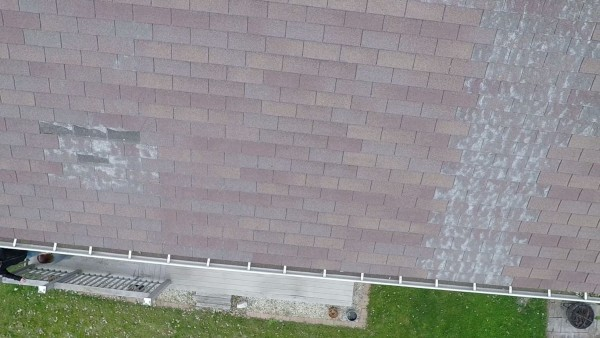 Defective and missing shingles as seen from drone inspection.